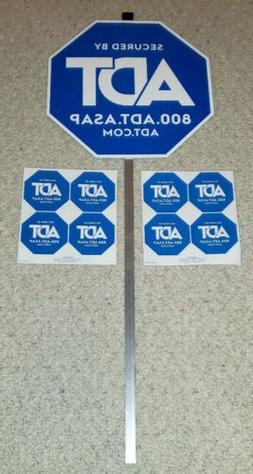1 ADT Home Security Yard Sign Plus 8 Window Stickers Decals
