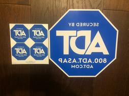 1 ADT HOME YARD SECURITY ALARM SIGN + 4 STICKERS WINDOW DECA