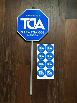 1 ADT HOME YARD SECURITY ALARM SIGN + 8 STICKERS WINDOW DECA