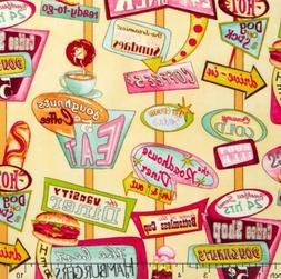 1 Yard Of At The Diner 100% Cotton Fabric By Wilmington Prin