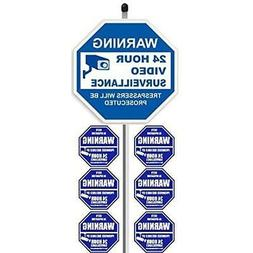 """1 Yard Signs """"24 Hour Video Surveillance""""  With 36"""" Long Sta"""
