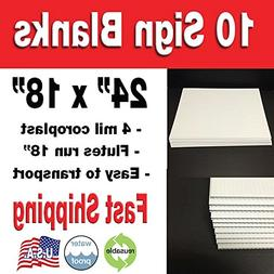 """10 Pack 18x24"""" Corrugated Plastic Sign Blank- White"""