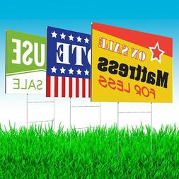 """10 Yard Signs, 24""""x18"""" Full Color, Both Sides INCLUDES stand"""