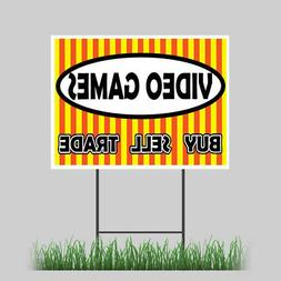 """12""""x18"""" Video Games Yard Sign Retail Buy Sell Trade Business"""