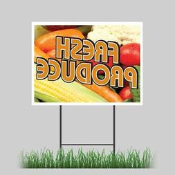 "18""x24"" Fresh Produce Yard Sign Fruit Stand Farmer Market Re"