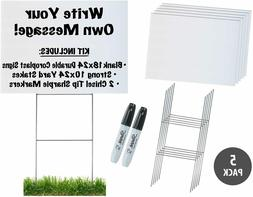 18x24 Durable Blank White Yard Sign Kit  w/ Stakes+Free Shar