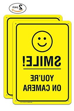 """YOU/'RE YOU ARE ON CAMERA SMILE 10/"""" BY 14/"""" YOUR ALUMINUM SURVEILLANCE SIGN"""