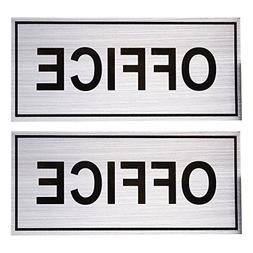 2-Pack Office Signs - Office Wall Plates, Self-Adhesive Alum