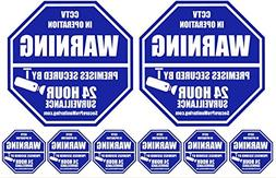 """2 """"REAL"""" CCTV Security Camera Home Alarm Signs + 6 Security"""
