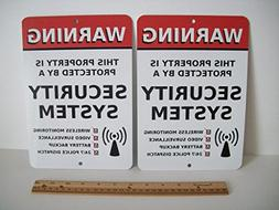 2 Home Security Alarm System 7x10 Metal Yard Signs - Stock #