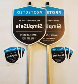 2 SimpliSafe Home Security Alarm Yard Signs with 6 Decals St