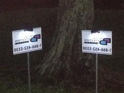 2 - New DDS  Security Yard Signs & 2  Solar Clip on Lights