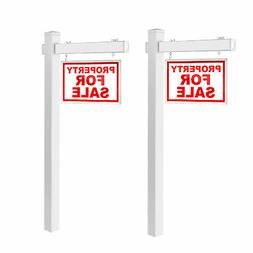 2 PCS 6' UPVC Real Estate Sign Post Open House Yard Home for