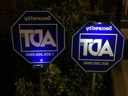 2 Solar Light for Security Yard Sign ADT Home Protection CCT