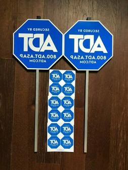 2 ADT YARD SECURITY ALARM SIGN and 12 STICKERS WINDOW DECALS