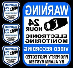 24 Hour Security Alarm Monitoring Yard Sign & 3 Video Survei