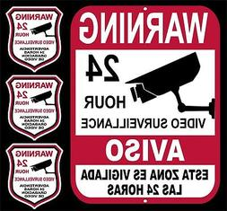 24 Hour Security Yard Sign & 3 Video Surveillance Home Busin