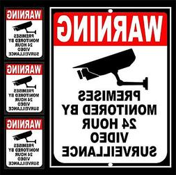 24 Hour Video Security Yard Sign & 3 Video Surveillance Home