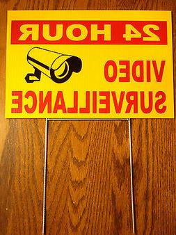 24 HOUR VIDEO SURVEILLANCE Coroplast Outdoor YARD  SIGN 8x12