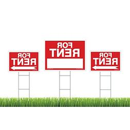 3-Pack For Rent Sign Kit - Double Sided Signs With Heavy Dut