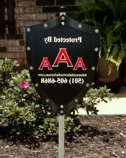 """30"""" AAA Home Security Yard Sign with Post & Post Cap"""
