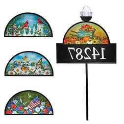 Collections Etc 4 Seasons Decorative Address Sign with Solar