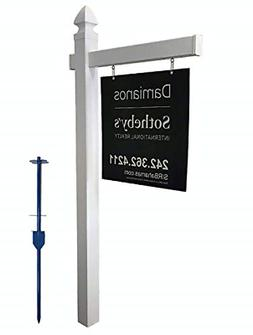 4EVER Vinyl PVC Real Estate Sign Post - White - 6' Tall Post