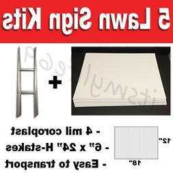5 pack Blank Yard Signs 12x18 with H-stakes for Garage Sale