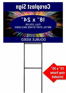 """5 Signs 18"""" x 24"""" Custom Yard Sign With Metal Step Stake Ful"""