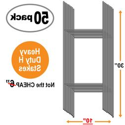 """50 Pack 10"""" x 30"""" H Wire Step Stakes for Corrugated Yard Sig"""
