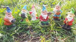 6 Set Fairy Garden Gnomes Lot Miniature Welcome Sign Yard La