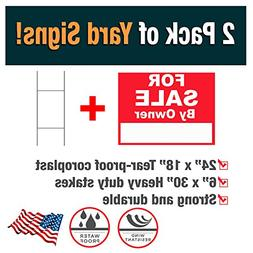Advertising Signs 2 Pack of For Sale By Owner Yard Signs  -