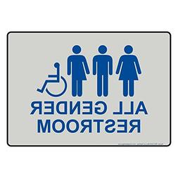 All Gender Restroom Sign Blue Grey Decorative Aluminum Decor