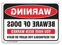 """Beware of Dog Warning Sign, Large 10x7"""" Aluminum, For Indoor"""