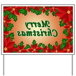 CafePress - Christmas flowers Yard Sign - Yard Sign, Vinyl L