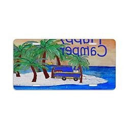 CafePress - Happy Camper Yard Sign - Aluminum License Plate,