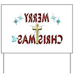CafePress Merry Christmas with Cross Yard Sign Yard Sign, Vi