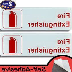 Easy Install 9 in x 3 in Fire Extinguisher Sign With Self-Ad