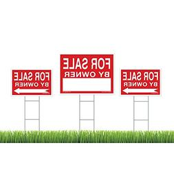 For Sale By Owner Sign Kit - 3 Double Sided Signs & 3 Heavy