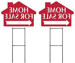 HOME FOR SALE Sign with Arrow 2 Pack - RED -House Shape Corr