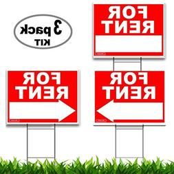 Large FOR RENT Sign Kit with Tall Stands - Yard Sign Bundle