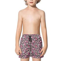 Lenard Hughes Boys Quick Dry Beach Shorts with Pockets Brown