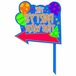 """Party Fun Directional """"The Party's Here"""" Yard Sign Outdoor D"""