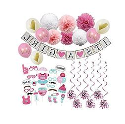 Pink Baby Shower Decorations for Girl 47pcs, Photo Booth Pro