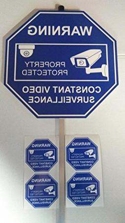 Security Yard Sign with aluminum post and 4 window stickers