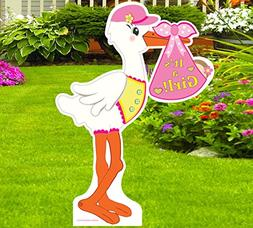 Cute News It's a Girl Yard Stork Announcement Sign - Welcome