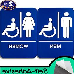ADA Mens and Womens Restroom Braille 9 in x 6 in Signs With