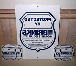 "BRINKS ALUMINUM HOME SECURITY ALARM YARD WARNING SIGN 9""x12"""