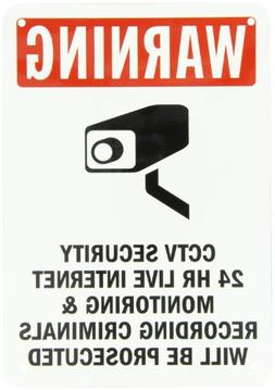 "SmartSign Aluminum Sign, Legend""Warning: CCTV Security 24 Hr"