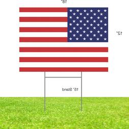 """American Flag Plastic Sign 12"""" x 18"""" USA Art Yard sign with"""